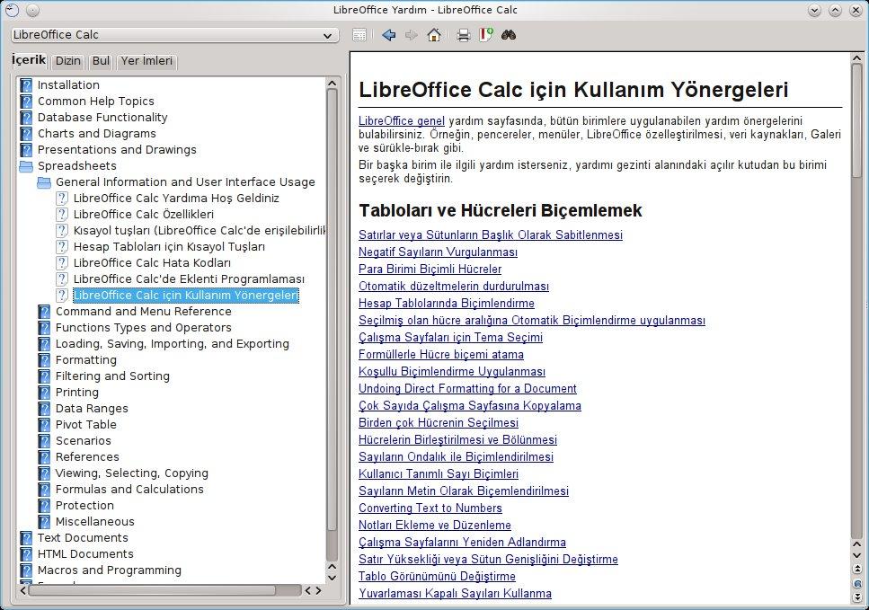 LibreOffice Yardım Merkezi'nde Calc Sayfalarından bir örnek