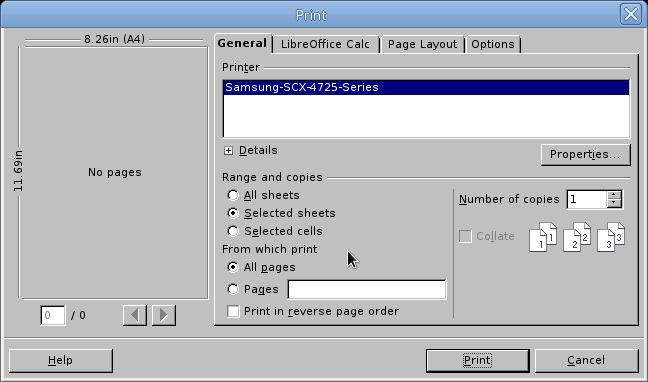 LibreOffice Calc Yazdırma Penceresi-İngilizce