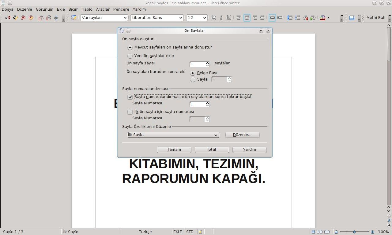 LibreOffice'de Kapak Sayfası Oluşturmak