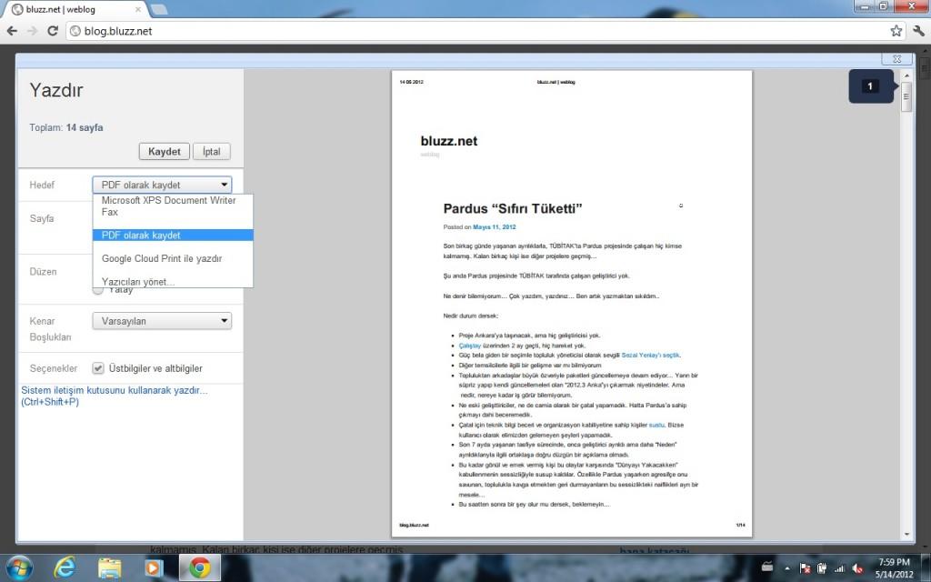 Google Chrome- Windows Sürümü- Dosyaya Yazdır, PDF, PostScript ve XPS biçiminde çıktı alabilirsiniz