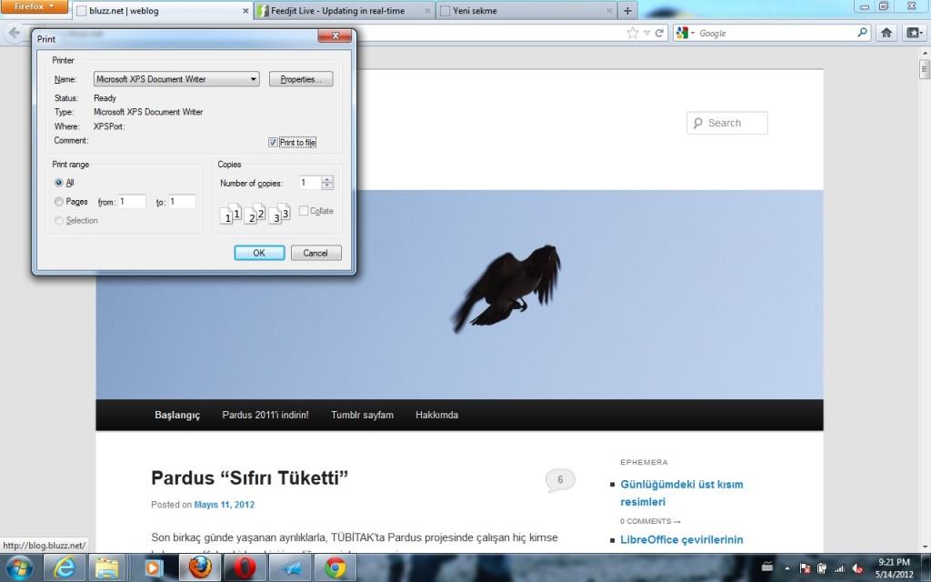 Firefox- Windows Sürümü- Dosyaya Yazdır, XPS biçiminde çıktı alabilirsiniz
