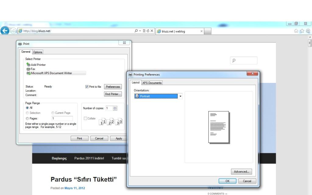 Internet Explorer - Dosyaya Yazdırmak, XPS biçiminde çıktı alabilirsiniz