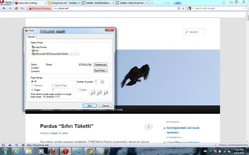 Opera- Windows sürümü, Dosyaya yazdır, XPS biçiminde çıktı alabilirsiniz