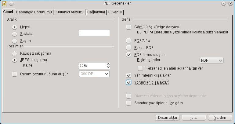 LibreOffice PDF dışa aktarma ayarları