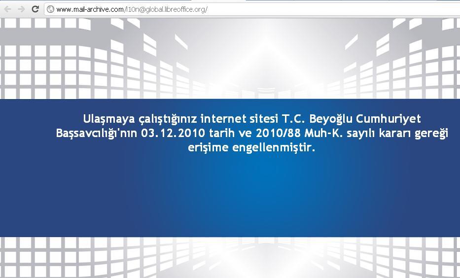 http://www.mail-archive.com sitesi sansürlenmiş http://www.mail-archive.com/l10n@global.libreoffice.org/ adresinin 05.06.2012 tarihli görüntüsü