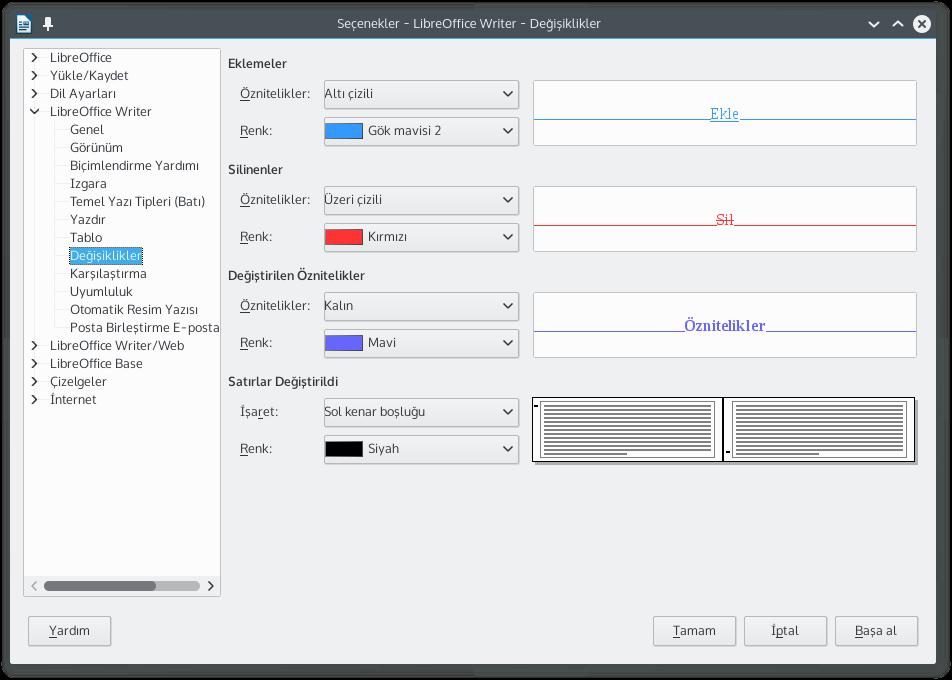 LibreOffice Wrtier'da Değişikliklerin işaretlenmesi dilediğiniz gibi kişiselleştirebilirsiniz.