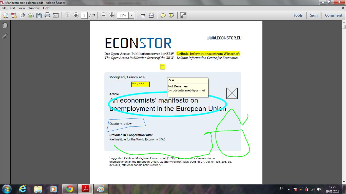 Okular notları ve işaretlemeleri Adobe Reader'da  sorunsuz şekilde görüntüleniyor.