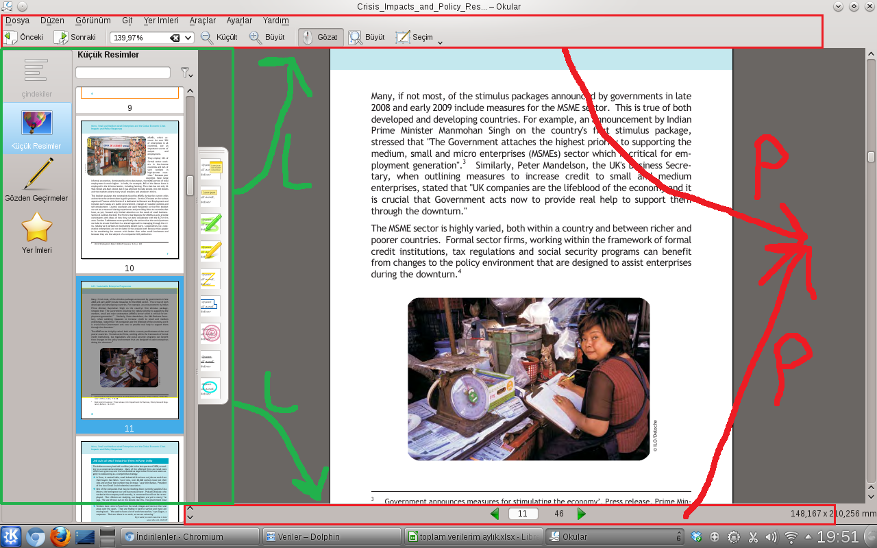 Okular varsayılan görünüm,  P dikey sayfalar için L ise yatay sayfalar için taşıma önerisi