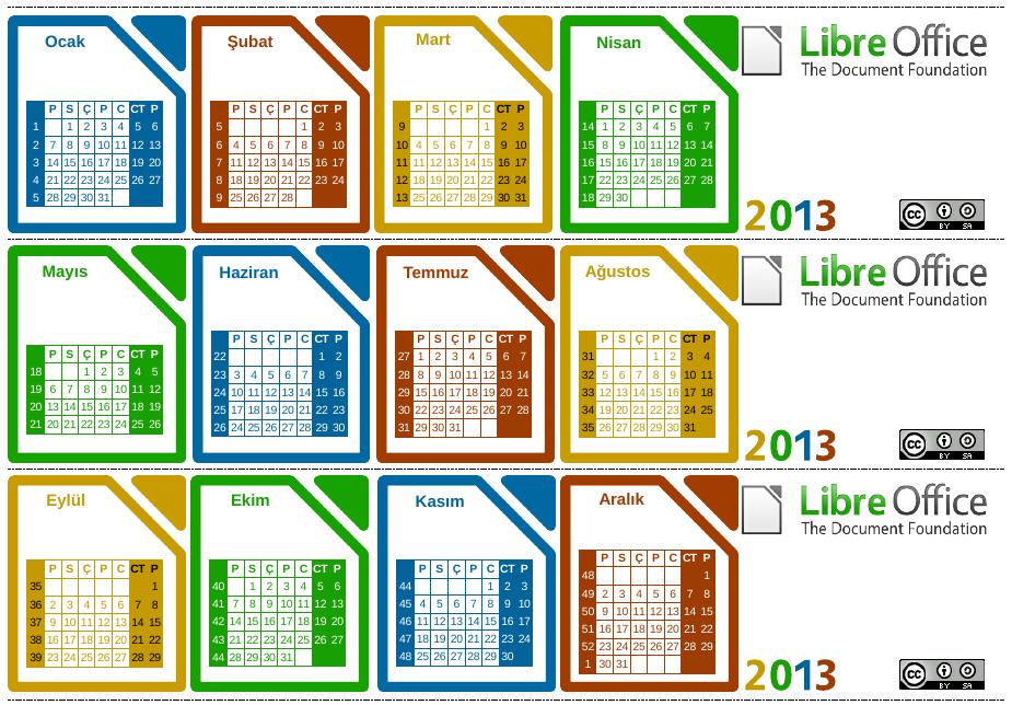 LibreOffice 2013 Takvimi