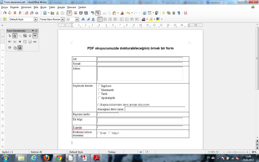 LibreOffice ile doldurulabilir form oluşturmak için Form Denetimleri Araç Çubuğu'nu aktifleştirelim
