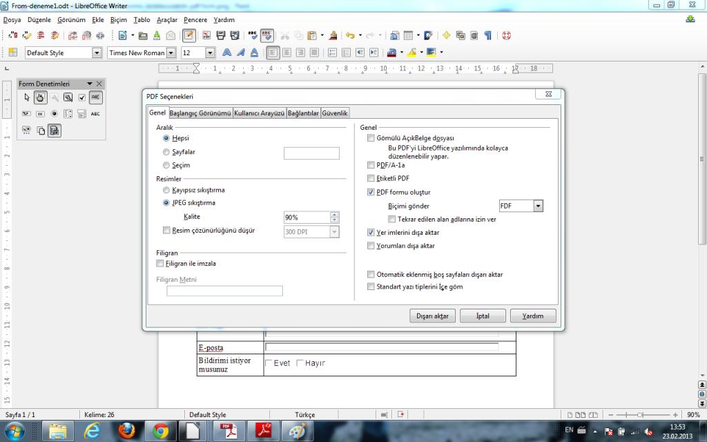 LibreOffice ile hazırlanmış doldurulabilir formu PDF olarak dışa akarmak