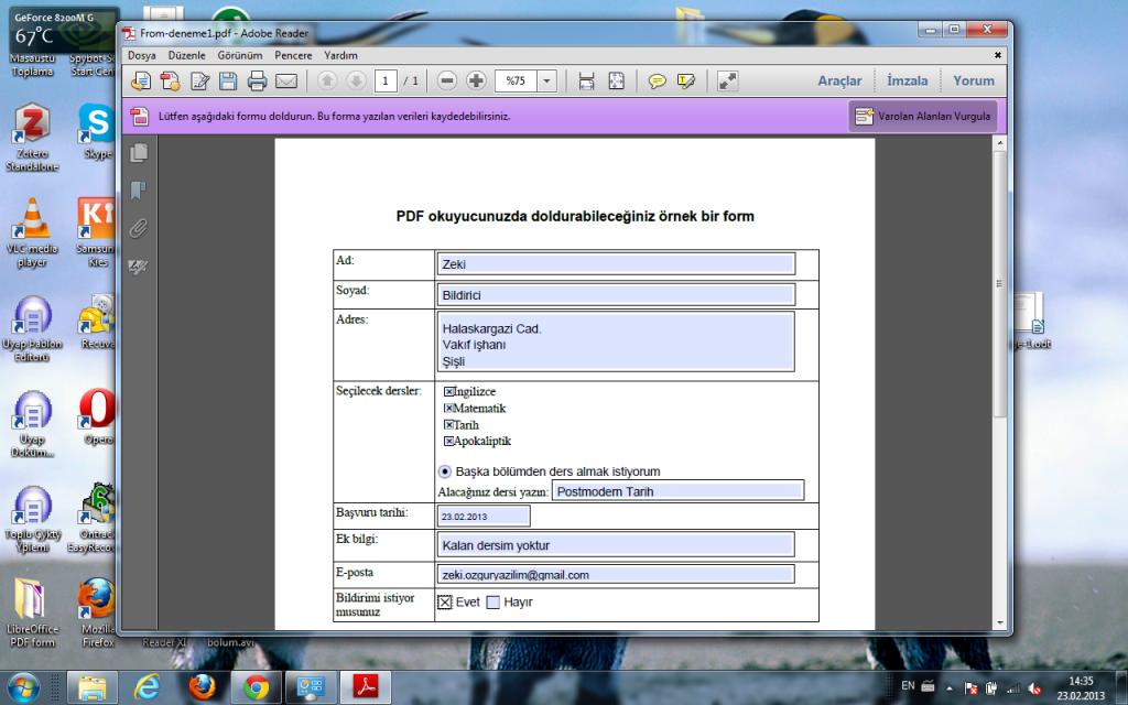 LibreOffice ile oluşturulmuş PDF formu PDF okuyucu ile Düzenlemek - Adobe Reader