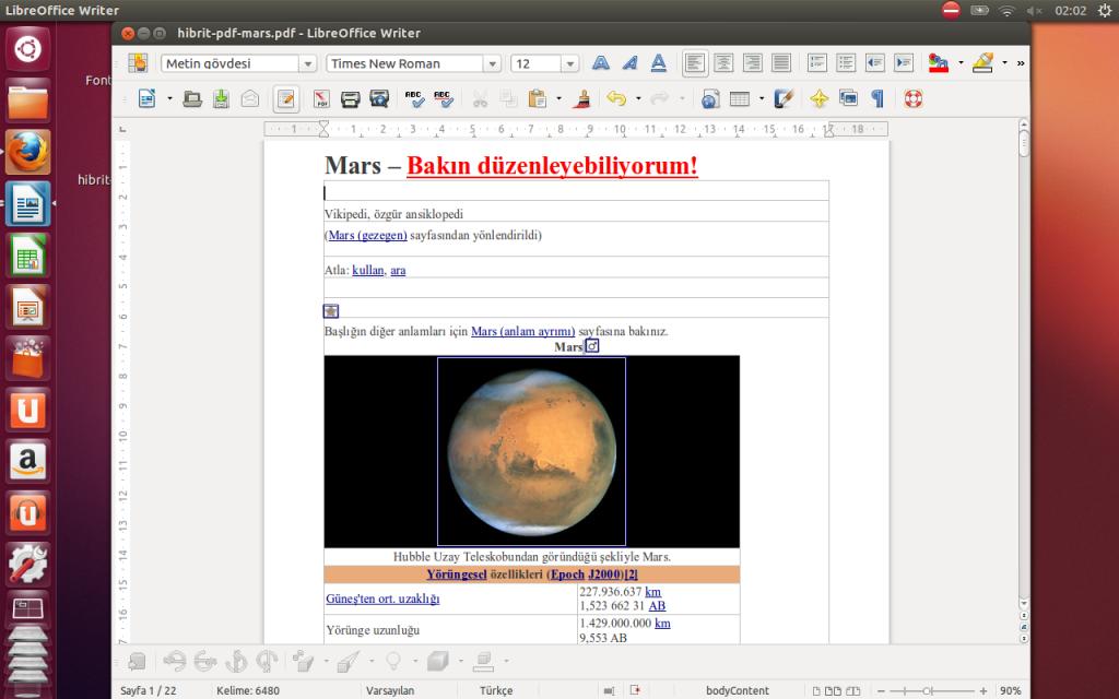 LibreOffice Writer ile düzenlenmek için açlan Hibrit PDF dosyası
