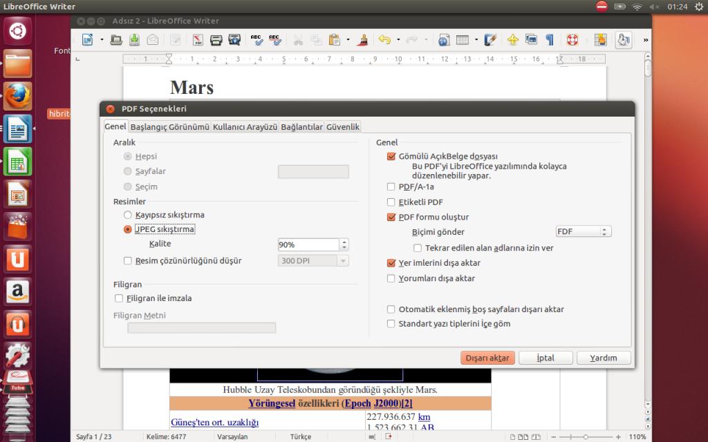 PDF olarak dışa aktarırken Gömülü Açık Belge dosyası seçeneğini aktif ederek, düzenlenebilir Hibrit PDF dosyaları oluşturmak