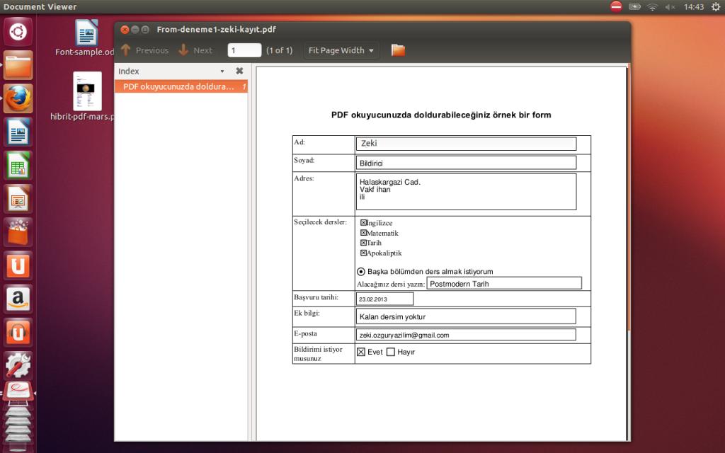 Evince'de pdf formu doldurmak