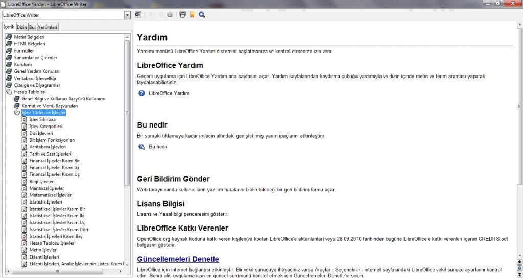 LibreOffice  Yardım (Gömülü)