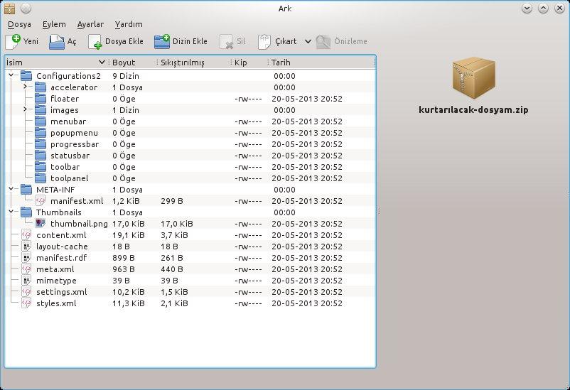 ODF Dosya Yapısı - uzantı Zip olarak değiştirilip klasöre çıkartıldıktan sonra