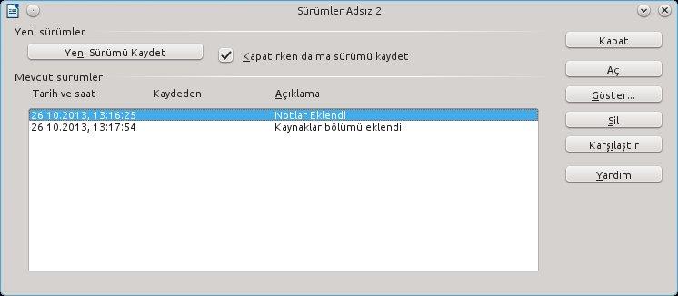 LibreOffice'de sürümler ile çalışmak