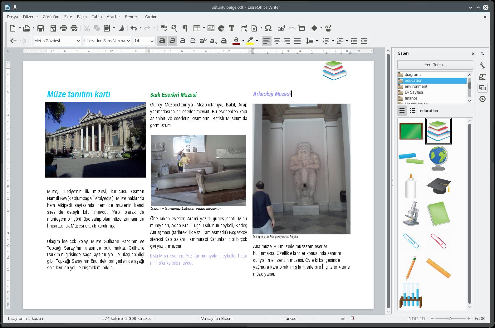 Oluşturduğum sütunlu belge ve LibreOffice'in yeni görünüşü