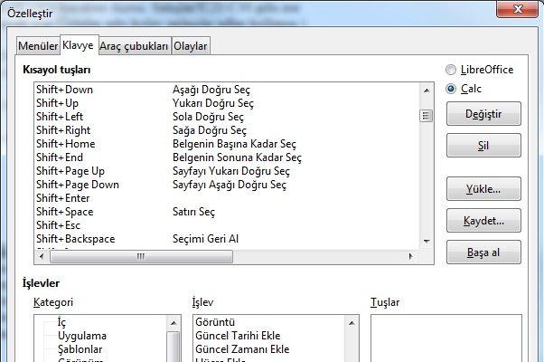LibreOfficeKlavye Kısayolları Özelleştirme penceresi - Araçlar - Özelleştirme yoluyla ulaşabilirsiniz